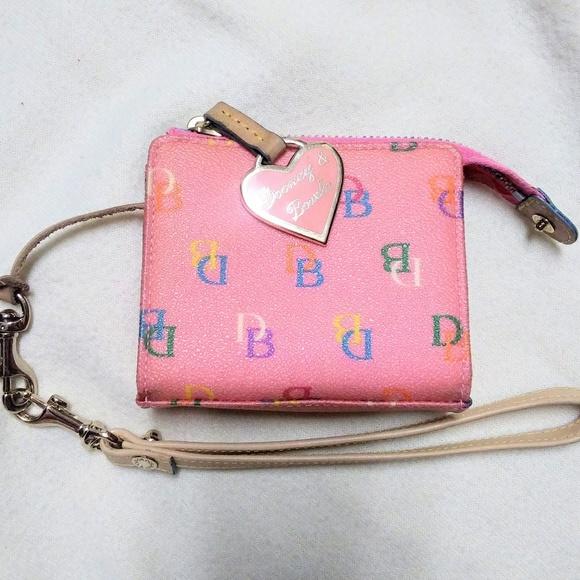 Dooney & Bourke Handbags - Dooney & Bourke Pink wallet w/ colorful design EUC